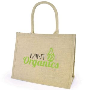 Promotional Printed Chow Natural Jute Bags for company events