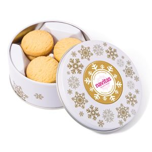 Each promotional Christmas Treat Tin features your artwork printed on the domed label in full colour.