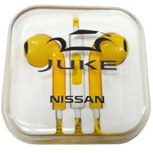 Custom branded earphones printed with company logos