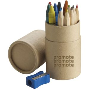 Branded Colouring Tubes with Sharpener with logos