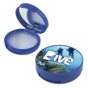 Compact Mirror with Lip Balm in Blue
