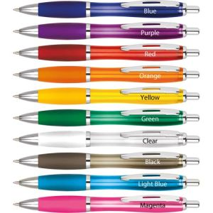 Promotional ballpens printed with company designs colours