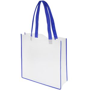 Each of these printed tote bags is white, with your choice of 5 colours for the handles & trim