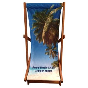 Printed in full colour, these personalised deck chairs are ideal for making your imagery pop