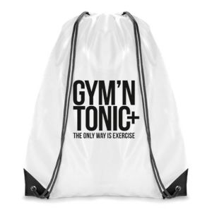 Dobson Drawstring Bags in White/Black