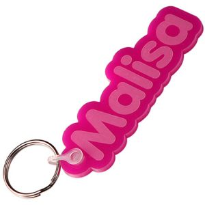 Any Shape Embossed Acrylic Keyrings in Pink