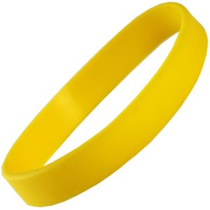 Promotional yellow silicone wristbands for universities