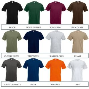 Promotional t-shirts for merchandise colours