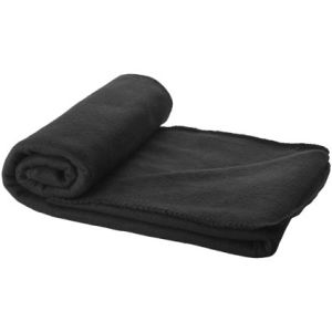 Fleece Blanket with Pouch in Black