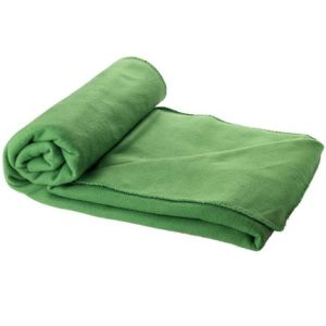Fleece Blanket with Pouch in Green