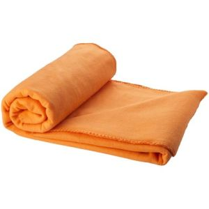 Fleece Blanket with Pouch in Orange