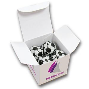 Promotional Foiled Chocolate Football Cubes for Company Merchandise