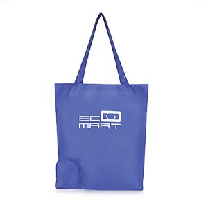 Foldable Polyester Shopper Bags in Reflex Blue