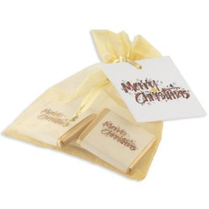 Neapolitan Chocolate Organza Bags in Gold