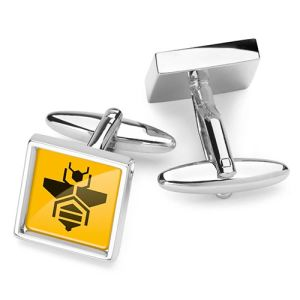 Full Colour Square Cufflinks in Silver