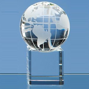 Engraved Globe on Clear Base is 60mm for Corporate Gifts