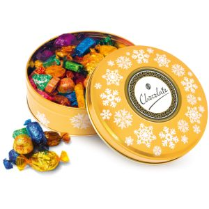 These Gold Chocolate Share Tins are ready and waiting to be printed with your branding!