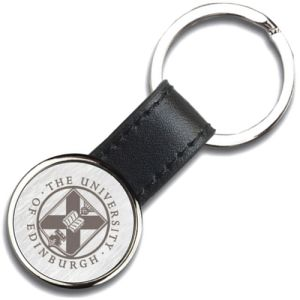 Izu Round Leather Keyrings in Black