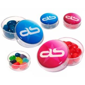 Printed jelly bean pots for event merchandise