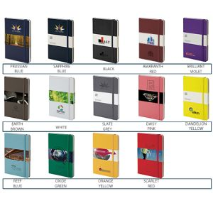 Corporate branded notebooks with company logos