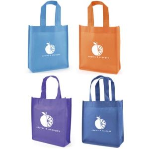 Each of these promotional mini non woven gift bags offers a generous amount of space for your logo