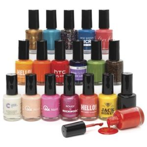 These printed nail varnishes are available in a whole rainbow of colours.