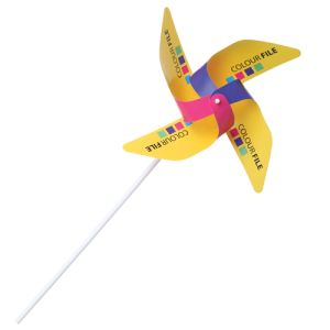 Promotional Paper Whirly Windmills with company logos