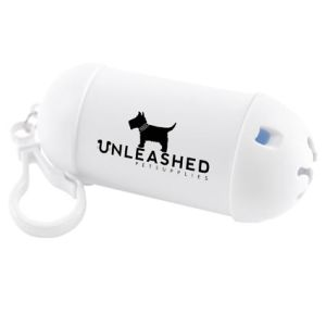 Our personalised poop bag holders offer an easy-wear clip-on device that means they can be taken out & about with ease