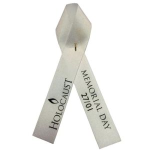 Printed Campaign Ribbons in White