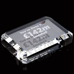 Personalised Rectangle Crystal Paperweights for Corporate Gifts