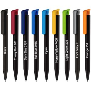Printed recycled pens for desks colours