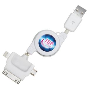 Retractable 3 in 1 Charger Cables in White