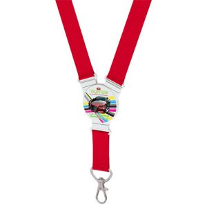 Round Snap Lanyards in Red