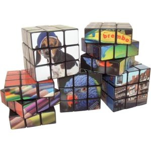 Branded Rubiks cube with company logo