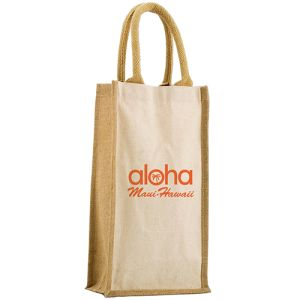 Our printed Salisbury 2 Bottle Bags are made from natural jute and canvas