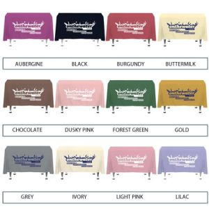 Personalised Tablecloths for Company designs Colour List