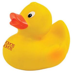 Printed Squeaky Duck with company logos