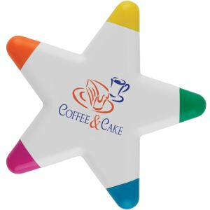 Printed Star Highlighter Pen for branding with business logos