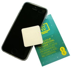 These branded screen cleaners are designed to stick to customers' smartphones, without leaving residue.