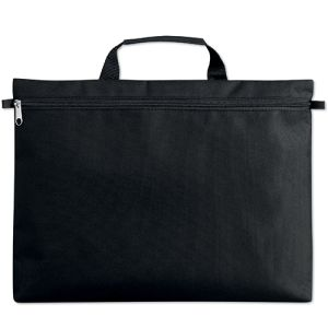 Stripe Zip Document Bags in Black