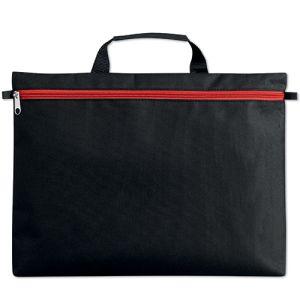 Stripe Zip Document Bags in Black/Red