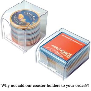 Branded coasters for merchandise ideas