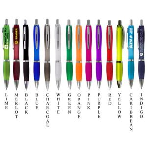 Promotional curvy pens with branding