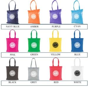 Corporate branded shopper bags with business details colours