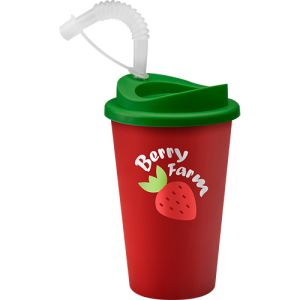 Promotional travel mug printed with company design