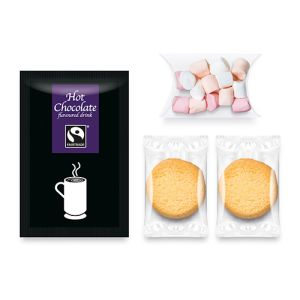 Each of these branded sets contains a hot chocolate sachet, packet of miniature marshmallows & biscuits.