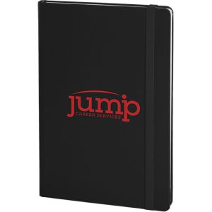 Promotional A5 Arundel Soft Feel Notebooks with logos