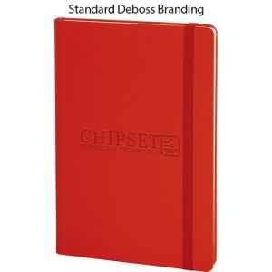 Custom branded notebooks for councils debossing example