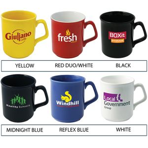 Corporate branded cups with company logos colours