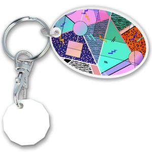 Promotional Oval Combo Trolley Coin Keyfobs for giveaways